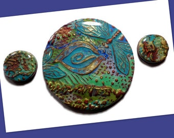 Copper Dragonfly Medallion Polymer Clay Pendant Embroidery Supplies Necklace Components