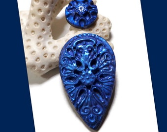 Blue Filigree Manderley Set Cabochon Polymer Clay Necklace Pendant Bead Embroidery Components