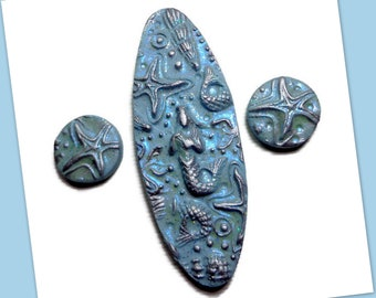 Mermaid Cabochon Set Polymer Clay Pendant Mountain Girl Embroidery Supplies, 60 x 20 Jewelry Component