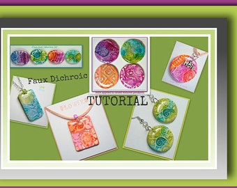 Polymer clay Tutorial: Faux Dichroic Pendants- Ink and Foil Tutorial- Beginner Tutorial- Easy Tutorial, How to Make Polymer Clay Pendants