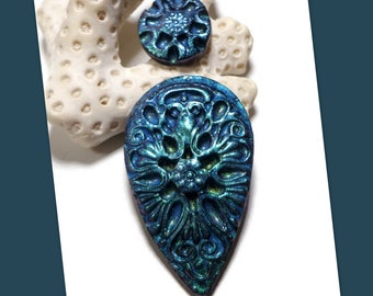 Teal Filigree Manderley Set Cabochon Polymer Clay Necklace Pendant Bead Embroidery Components