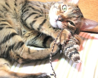 Knit Catnip Mouse Cat Toy with Brown Bengal Stripes