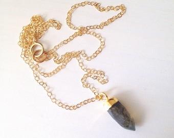 Labradorite Spike Gold Necklace