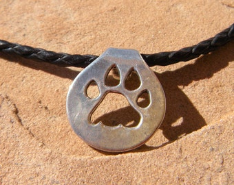 Tiger Pug Paw print Sterling Silver necklace