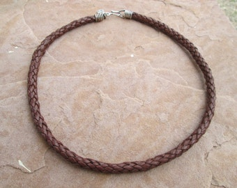 8 strand plain braided leather choker with Sterling silver findings