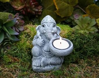Delicieux Ganesha Statue   Ganesh With Offering Bowl Or Tea Light Candle Holder    Ganpati Diya Deepak Concrete Art   Outdoor Decor