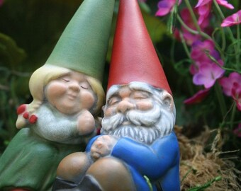 Miniature Garden Gnome Couple Gnomes In Love Mr u0026 Mrs Gnome  sc 1 st  Etsy & Mr and mrs gnome | Etsy