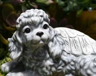 Poodle Angel Dog Statue - Concrete Pet Memorial