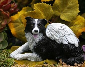 Border Collie Angel Statue - Concrete Dog Memorial - Border Collie Art