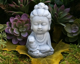 Kwan Yin Statue - READY TO SHIP - Miniature Meditation Altar Statue - Concrete Home or Garden Decoration