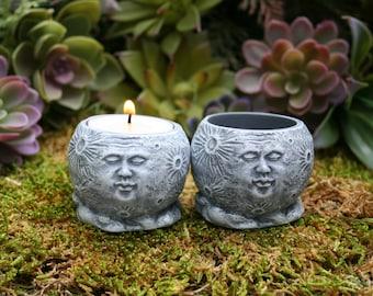 Full Moon Statue / Goddess Offering Dish / Tea Light or Candle Holder / Healing Stones Altar Bowl
