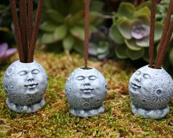 Full Moon Statue Mini Incense Holder / Moon Face Incense Holder Holds Several Sticks of Incense