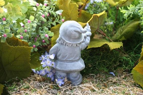 Garden Gnomes On Sale: Garden Gnome Flipping The Bird Concrete Rude Garden Gnomes