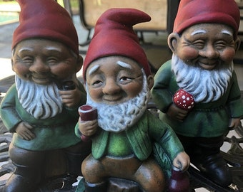 Black Gnome Drinking a Glass of Wine - African American Garden Gnome - The Wine Lover - Made of Solid Concrete