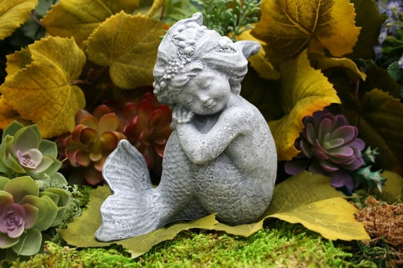 Little Mermaid Garden Statue Merissa Concrete | Etsy
