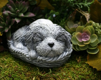 Shih Tsu Dog Angel Statue - Shih-Tzu Concrete Dog Memorial Statue - Sleeping Shihtzu Figurine