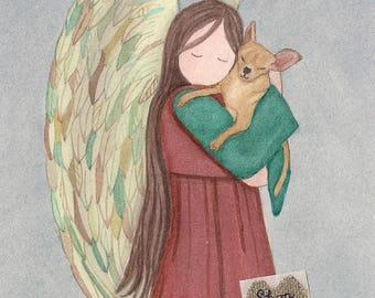 Chihuahua (tan / fawn) with angel / Lynch signed folk art print