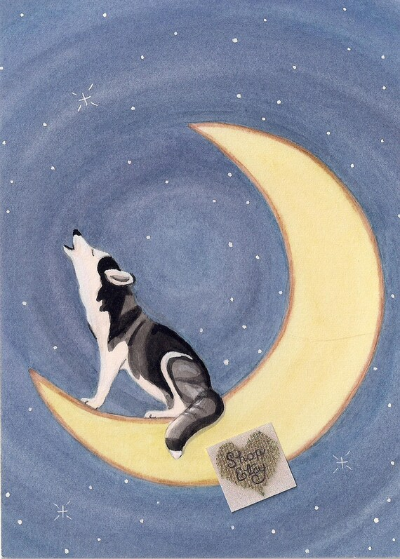 Siberian Husky Howling On The Moon Lynch Signed Folk Art Etsy