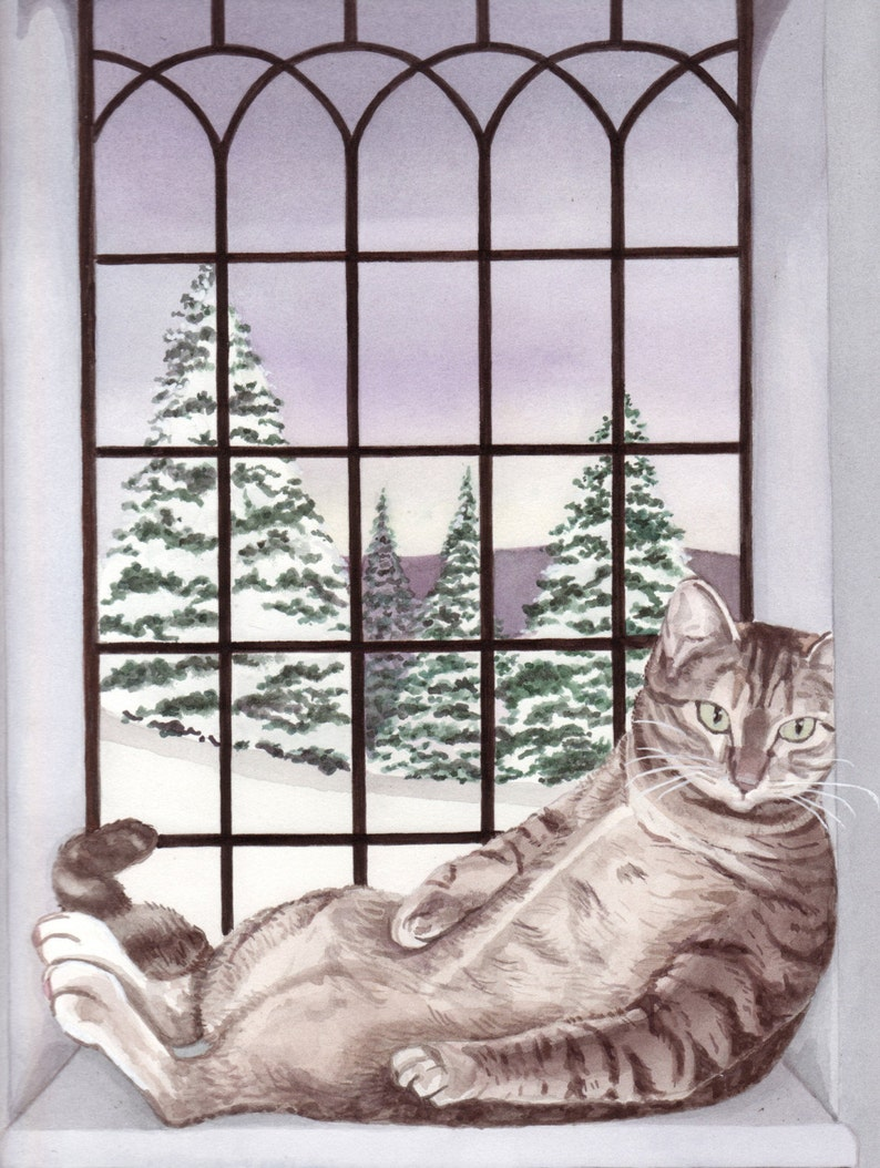 Baby Its Cold Outside But Fat Tiger Cat Has Warm Window Etsy