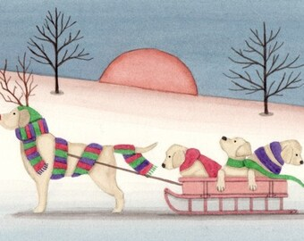 Christmas cards: Yellow Golden Labrador retriever (lab) family goes for sled ride / Lynch folk art