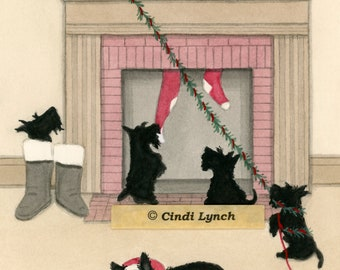 Christmas Cards: Scottish terrier (scottie) family doesn't want Santa to leave / Lynch folk art