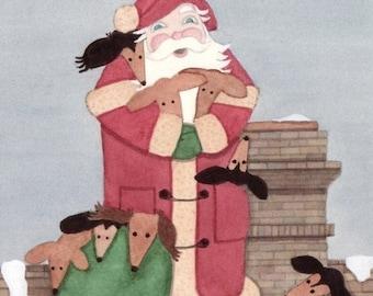 Christmas cards: Dachshunds (doxies) keep Santa company on his rounds / Lynch folk art