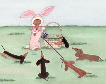"""Dachshunds (doxies) surround """"Easter bunny"""" and basket / Lynch signed folk art print"""
