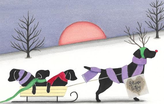 German shepherd family takes holiday sled ride Lynch signed folk art print