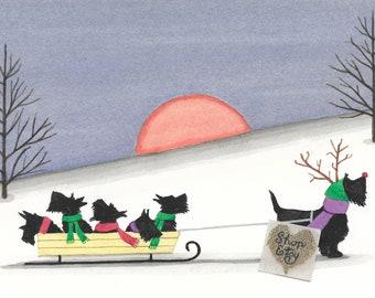 Christmas cards: Scottish terrier (scottie) family goes for a sled ride / Lynch folk art