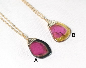 Watermelon Tourmaline necklace, AAA Tourmaline slice pendant necklace, October Birthstone jewelry gold filled, Layering pendant necklace
