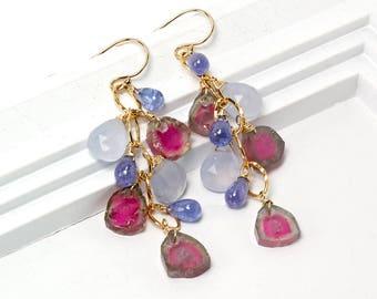 Watermelon Tourmaline earrings, Tourmaline slice cascade earrings, Tanzanite, Chalcedony gold filled earrings, October Birthstone Jewelry