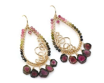 Chandelier Watermelon Tourmaline earrings - Wire wrapped Gold filled Tourmaline beaded dangle earrings, October Birthstone jewelry