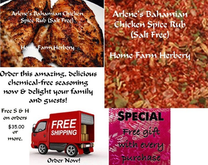 Arlene's Bahamian Chicken Spice Rub (Salt Free) use as a dry rub or a wet marinade. Order now