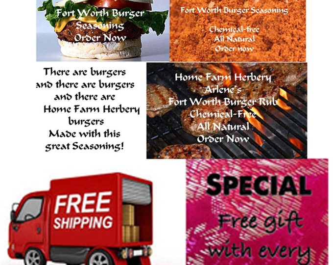 Arlene's Fort Worth Burger Seasoning, special sale, reduced price, free gift, free shipping!