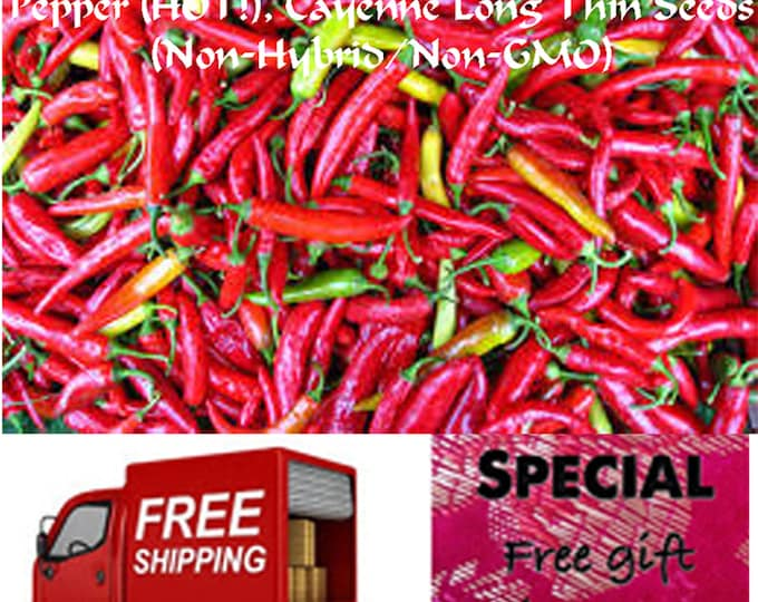 Pepper (HOT!), Cayenne Long Thin (Non-Hybrid/Non-GMO) Seeds, Special sale, reduced price, free shipping, free gift