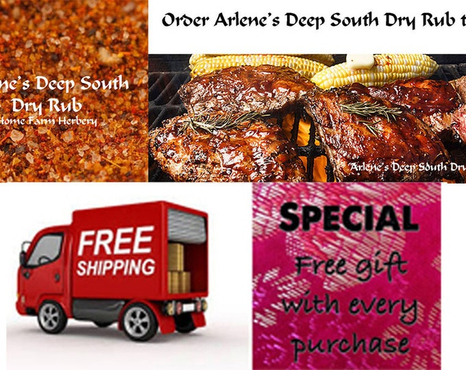 Arlene's Deep South Dry Rub, hand blended, great gift item shipped free