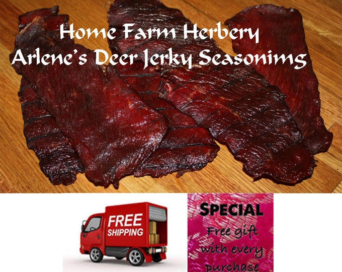 Arlene's Deer Jerky Seasoning, Organic, easy to use, Order now and get Free shipping & a free  gift