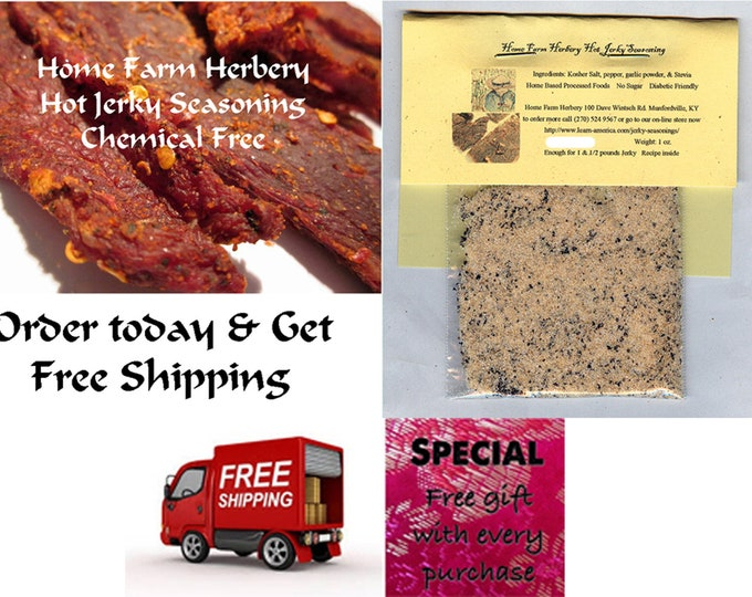 Home Farm Herberys Hot Jerky Seasoning Enough for 4 pounds Jerky Recipe included  Order now