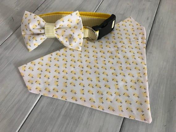 Collier de chien sur le thème de Pâques et noeud papillon ou Slide-on chien Bandana - noeud papillon collier - Bandana chien - accessoires chien - chien mouchoir - chien bandana