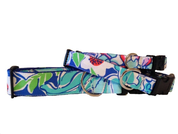 Dog or Cat Collar made with Lilly Pulitzer fabric - Blue and White and Green Small & Large Sizes All Breeds - 'Worth Blue May Flowers'