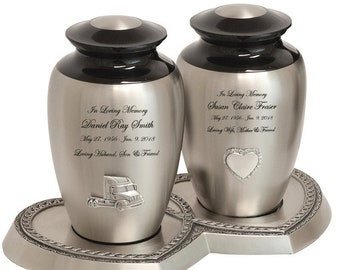 Double Pewter Companion Urns
