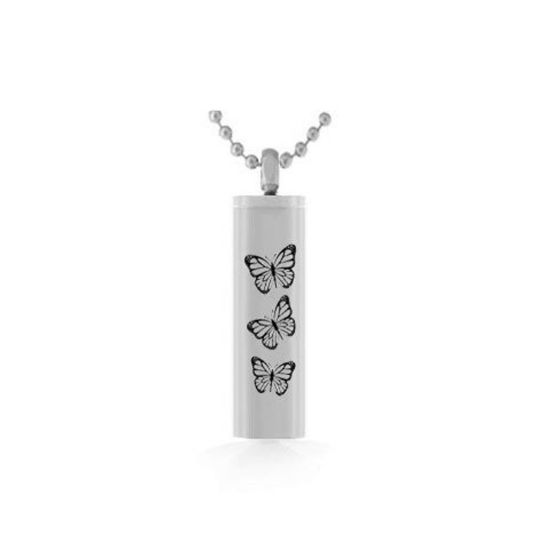 Love Charms Option Butterflies Cylinder Pendant Urn