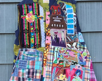 TROOP LEADER * my Bonny * Patchwork Fabric Collage Clothing Dress of Many Scraps Colors Couture - Wearable Folk Art - Plus xl