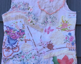 MY MOTHER'S LINENS Tunic * my bonny * crochet embroidery doilies lace -  Wearable Folk Art Collage Clothing - Vintage Everything