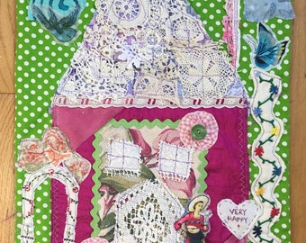 my bonny Fabric Collage Banner Flag Assemblage FIERCE AND FREE Black Americana Mixed Media Folk Art Patchwork Applique Quilt