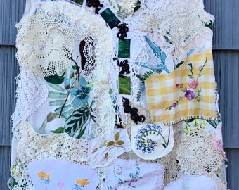 MY MOTHER'S LINENS Lots of Crochet Tunic * my Bonny * Antique Vintage Altered Fabric -  Artisan Wearable Art Collage Couture