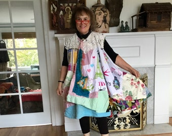 COLOURFUL WOMAN * my bonny * Wearable Fabric Collage Folk Art - Altered Vintage Linens  --Eclectic Artsy Artisan