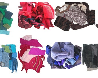 One Kilo of Felted Wool Sweater Scraps, Mixed Colors and Patterns, Upcycled Sweater Fabric