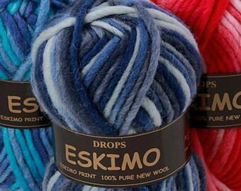 4-or 5-packs Garnstudio Drops Eskimo Print, Mix or Match Colorful Bulky Wool Yarn, Feltable