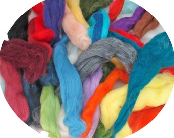 100% Fine Merino Wool  Pieces in a Mix of Colors for Spinning, Felting, Crafts